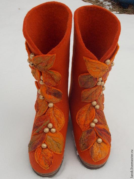 """Обувь ручной работы. Ярмарка Мастеров - ручная работа. Купить Валенки для улицы """"Осень"""". Handmade. Рыжий, валенки ручной работы"""