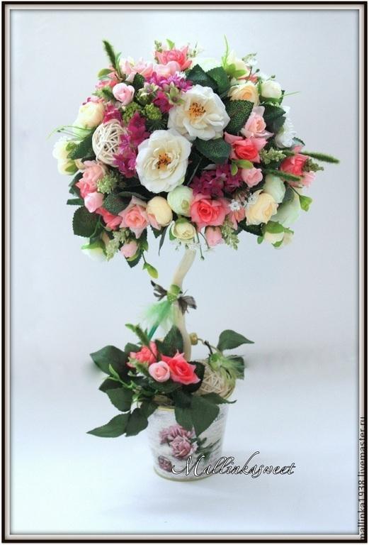 """Топиарии ручной работы. Ярмарка Мастеров - ручная работа. Купить Топиарий, дерево счастья  """"Нежность"""". Handmade. Розовый, Топиарии"""