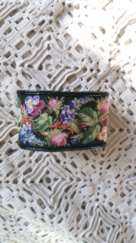 Embroidered bracelet ' Flower path', Vintage bracelets, St. Petersburg,  Фото №1