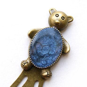 """Канцелярские товары ручной работы. Ярмарка Мастеров - ручная работа Закладка для книг """"Мишка"""" синий цвет. Handmade."""