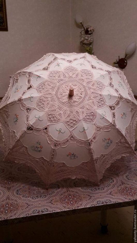 Зонты ручной работы. Ярмарка Мастеров - ручная работа. Купить Летний дамский зонтик от солнца для фотосессий. Handmade. Бежевый, металл