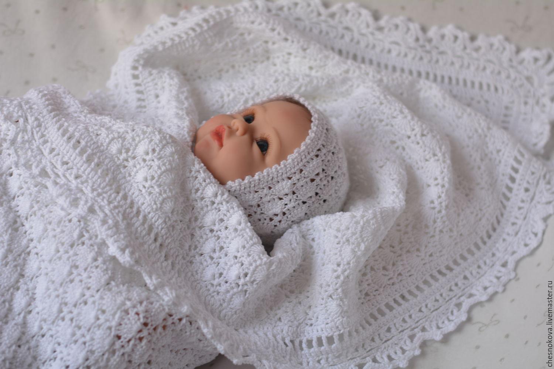 Пледы и одеяла для новорожденных вязанные