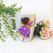 Mugs handmade. Livemaster - original item Mug with a girl on a balloon made of polymer clay. Handmade.