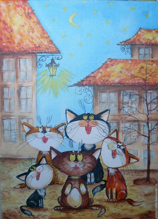 Животные ручной работы. Ярмарка Мастеров - ручная работа. Купить Серенада. Handmade. Оранжевый, коты, фонарь, крыша, серенада, небо