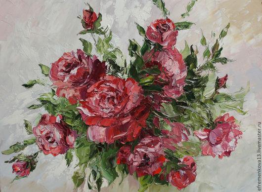 """Картины цветов ручной работы. Ярмарка Мастеров - ручная работа. Купить Картина """"Красные розы"""". Handmade. Картина в подарок"""