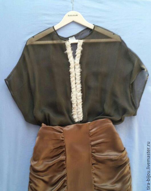 Блузки ручной работы. Ярмарка Мастеров - ручная работа. Купить Винтажная блузка. Handmade. Хаки, шик, блузка женская, винтаж