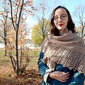Аксессуары handmade. Livemaster - original item Shawls: Knitted beige shawl, winter women`s accessory. Handmade.