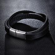 Украшения handmade. Livemaster - original item Leather bracelet classic with a lock of jewelry steel. Handmade.