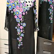 Платья ручной работы. Ярмарка Мастеров - ручная работа Платье  туника цветы  и горох. Handmade.