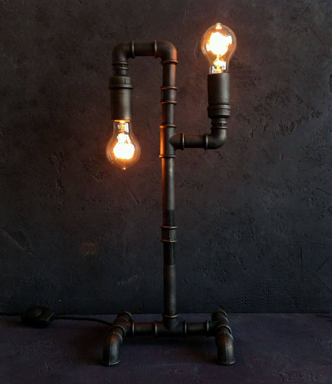 Настольная лампа из труб 6
