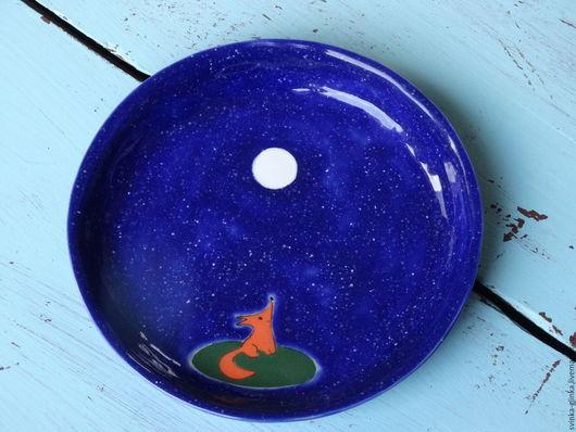 """Тарелки ручной работы. Ярмарка Мастеров - ручная работа. Купить Тарелка """"Лис"""". Керамика. Handmade. Тёмно-синий, белая глина"""