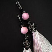 Серьги-кисти ручной работы. Ярмарка Мастеров - ручная работа Серьги кисти пудрового цвета в черном серебре. Handmade.