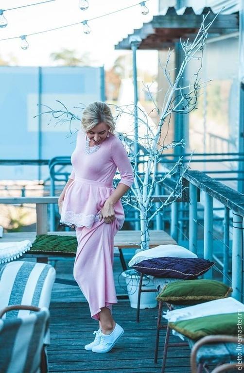 Платья ручной работы. Ярмарка Мастеров - ручная работа. Купить Платье макси с баской. Handmade. Бледно-розовый, платье вечернее