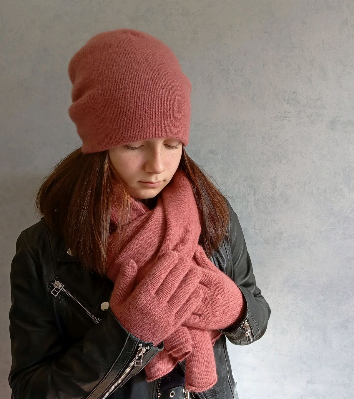 Комплект-шарф-палантин, двойная шапочка бини и перчатки, Шапки, Балашиха,  Фото №1