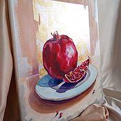 Картины и панно handmade. Livemaster - original item Interior oil painting with gold painting abstract still life pomegranate. Handmade.