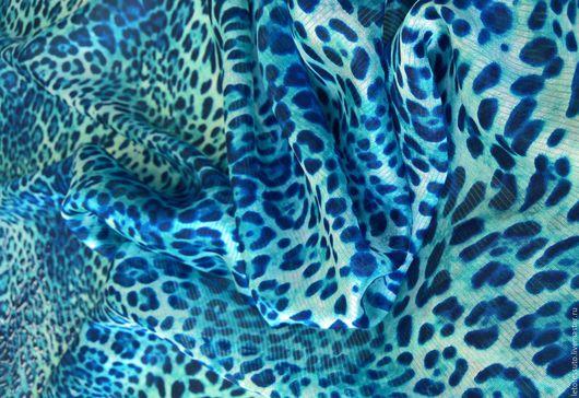 Шитье ручной работы. Ярмарка Мастеров - ручная работа. Купить Итальянский шелк голубой леопард. Handmade. Голубой, итальянские ткани
