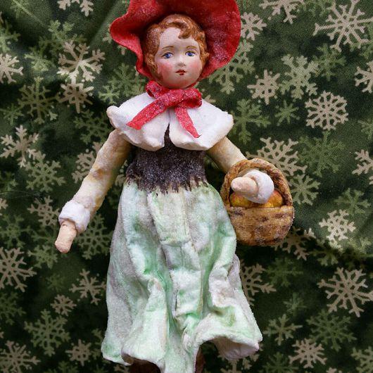 Коллекционные куклы ручной работы. Ярмарка Мастеров - ручная работа. Купить Красная шапочка ватная елочная игрушка. Handmade.