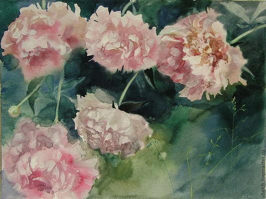 Авторская акварель Розовые пионы украсит интерьер, станет прекрасным подарком на любой случай. Но еще лучше оставить ее себе и любоваться, вдыхая летний цветочный аромат. Автор Елена Щелчкова
