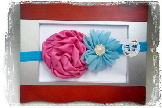 """Детская бижутерия ручной работы. Ярмарка Мастеров - ручная работа. Купить Повязочка на голову """"Розово-голубая"""". Handmade. Разноцветный"""