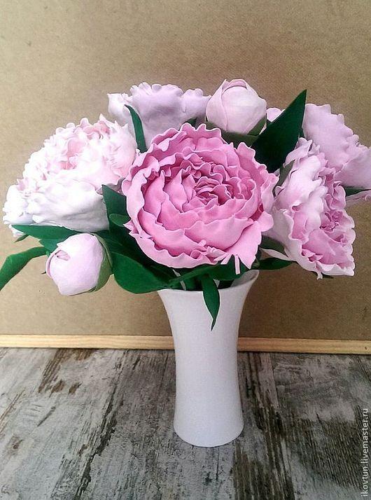 Цветы ручной работы. Ярмарка Мастеров - ручная работа. Купить Интерьерная композиция Пионы всегда в моде. Handmade. Розовый