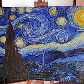 """Картины и панно ручной работы. Ярмарка Мастеров - ручная работа Картина маслом """"Звездная ночь"""". Handmade."""