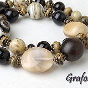Украшения handmade. Livemaster - original item Necklace,bracelet and earrings short beige-brown. Handmade.