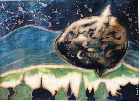 """Фантазийные сюжеты ручной работы. Ярмарка Мастеров - ручная работа. Купить батик панно """"Рыба-луна"""". Handmade. Тёмно-синий"""
