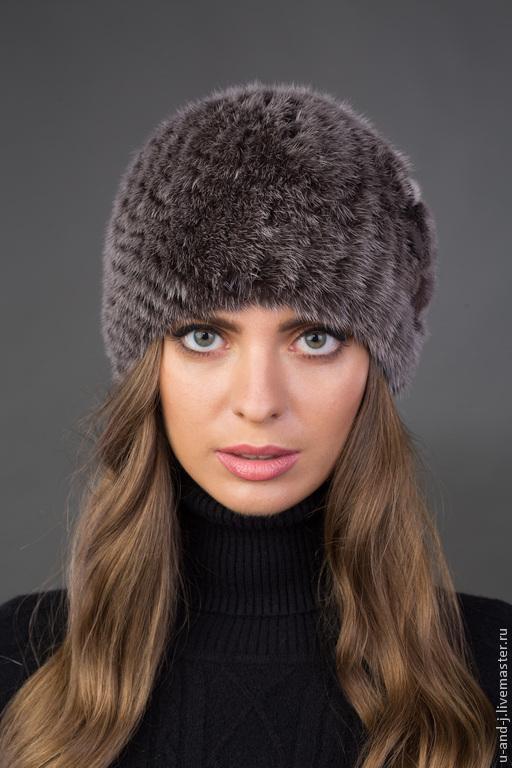 Шапки ручной работы. Ярмарка Мастеров - ручная работа. Купить Норковая шапка Анютка крупная вязка(цвет серый). Handmade. Серый