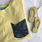 Одежда handmade. Livemaster - original item Yellow t-shirt with denim pocket. Handmade.