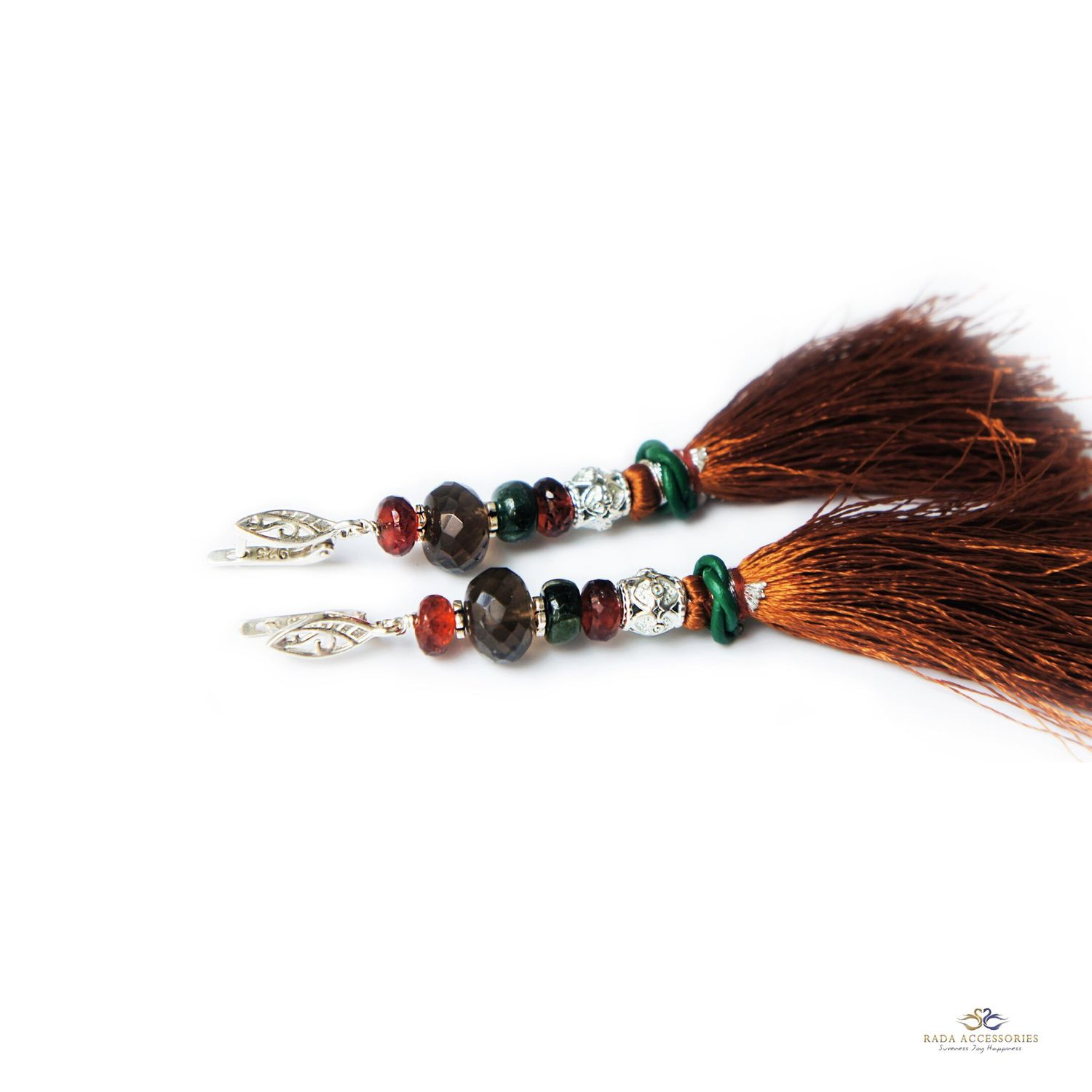 Earrings-brush Morocco of smoky quartz, tourmaline and hessonite, Tassel earrings, Ekaterinburg,  Фото №1