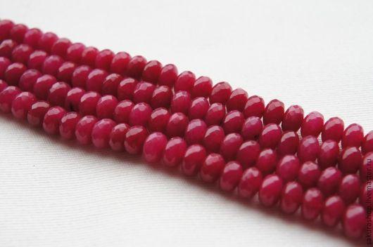 Для украшений ручной работы. Ярмарка Мастеров - ручная работа. Купить Нефрит рубиновый рондель грань 5х8 мм. Handmade.