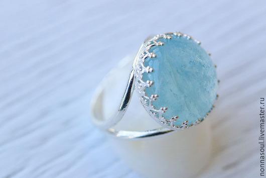 Кольца ручной работы. Ярмарка Мастеров - ручная работа. Купить Серебряное кольцо с аквамарином. Handmade. Голубой, аквамарин натуральный