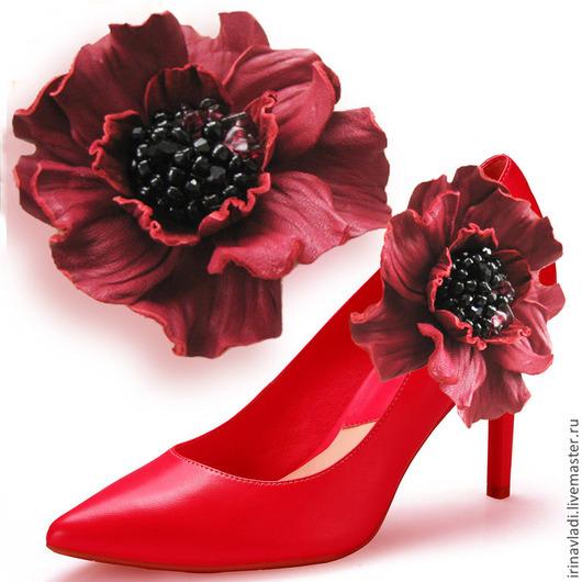 цветы из натуральной кожи,броши для обуви- туфелек,босоножек, ярко-вишневый,красный,бордовый, брошь цветок из кожи,клипсы для обуви,заколка цветок из кожи, кожаная брошь,красный цветок  украшение, укр