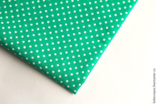 Шитье ручной работы. Ярмарка Мастеров - ручная работа. Купить Ткань Хлопок Мелкий горошек Ярко-зеленый. Handmade.