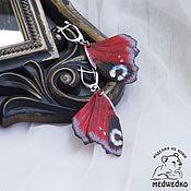 Украшения handmade. Livemaster - original item Butterfly earrings Peacock leather. Handmade.