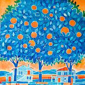 Аксессуары handmade. Livemaster - original item Orange paridise - silk hand-painted shawl. Hand painted silk. Orange. Handmade.