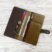 Холдер для путешествий кожаный олива+коричневый
