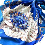 """Аксессуары ручной работы. Ярмарка Мастеров - ручная работа Батик платок """"Белый мак"""". Handmade."""
