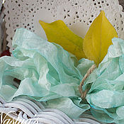 Материалы для творчества ручной работы. Ярмарка Мастеров - ручная работа Шебби-лента ручного окрашивания, зеленые оттенки. Handmade.
