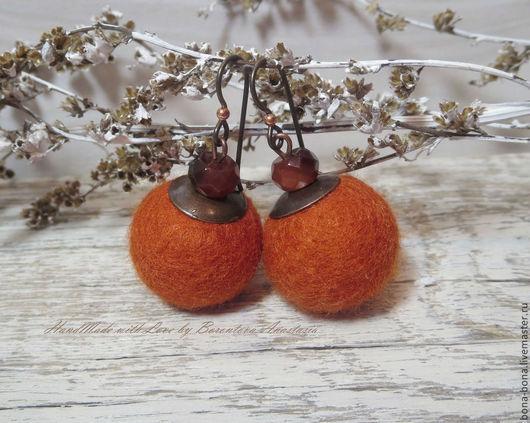 """Серьги ручной работы. Ярмарка Мастеров - ручная работа. Купить 10% СКИДКА! Серьги из войлока """"Pumpkins"""". Handmade. Оранжевый"""