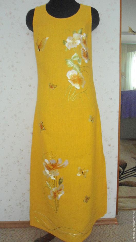 Платья ручной работы. Ярмарка Мастеров - ручная работа. Купить сарафан вышитый шелком (лен). Handmade. Желтый