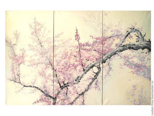 Картины цветов ручной работы. Ярмарка Мастеров - ручная работа. Купить Сакура. Handmade. Бледно-сиреневый, картина, цветы, интерьер