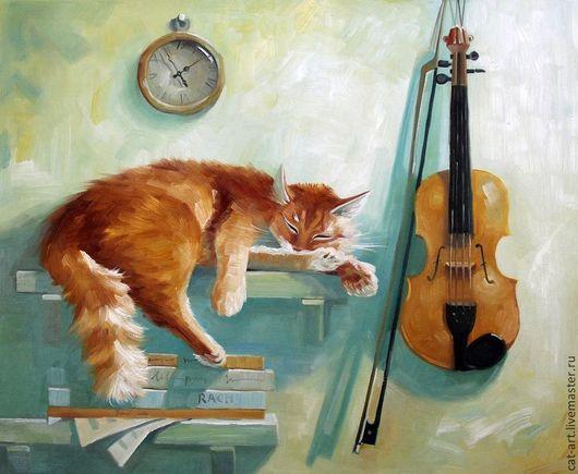 Животные ручной работы. Ярмарка Мастеров - ручная работа. Купить Спящий кот - картина маслом ручной работы на холсте. Handmade.