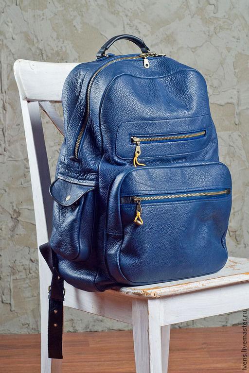 Рюкзаки ручной работы. Ярмарка Мастеров - ручная работа. Купить Рюкзак кожаный. Handmade. Тёмно-синий, пошив