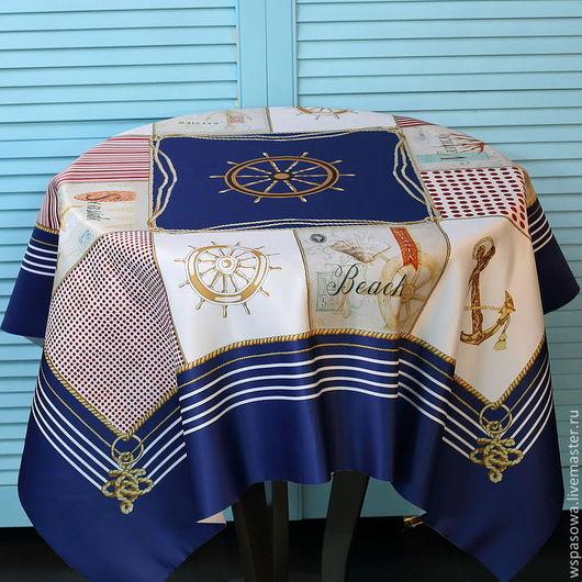 Текстиль, ковры ручной работы. Ярмарка Мастеров - ручная работа. Купить Скатерть в морском стиле. Handmade. Тёмно-синий, Сатен