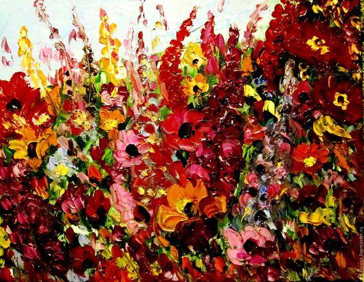 Картины цветов ручной работы. Ярмарка Мастеров - ручная работа. Купить Полевые цветы.. Handmade. Бордовый, масло, Живопись, мастихин