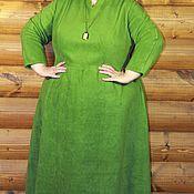 """Одежда ручной работы. Ярмарка Мастеров - ручная работа Платье большого размера, тёплое, длинное """"Зелёный флис"""". Handmade."""