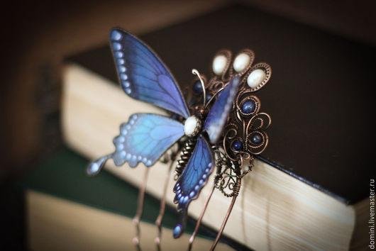 """Заколки ручной работы. Ярмарка Мастеров - ручная работа. Купить Гребень """"Ночная гостья"""". Handmade. Синий, бабочка, крылья бабочки"""