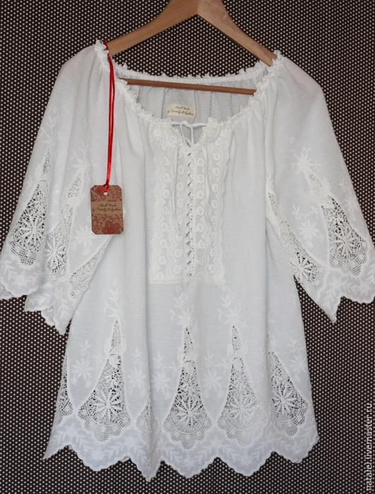 """Блузки ручной работы. Ярмарка Мастеров - ручная работа. Купить Туника """"Ажурная"""" молочная кружевная. Handmade. Белый, блузка летняя"""