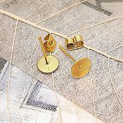 Материалы для творчества handmade. Livemaster - original item Basis for earrings studs 6 mm in gold (Ref. 2079). Handmade.